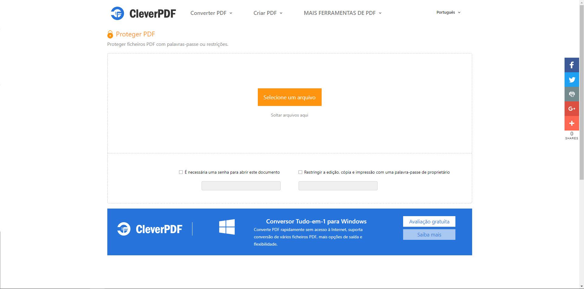 Proteger um PDF com uma palavra-passe online - 100% Grátis